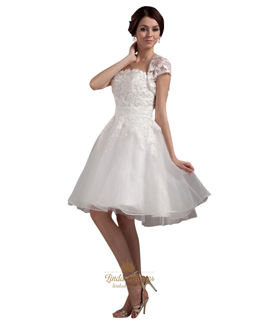 ivory strapless lace bodice knee length wedding dresses