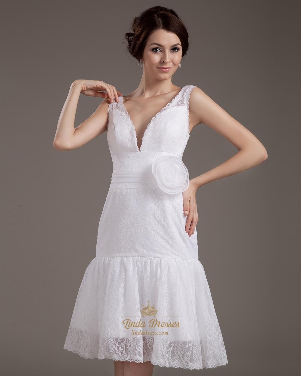 Unique vintage lace deep v back wedding dresses with for Deep v back wedding dress