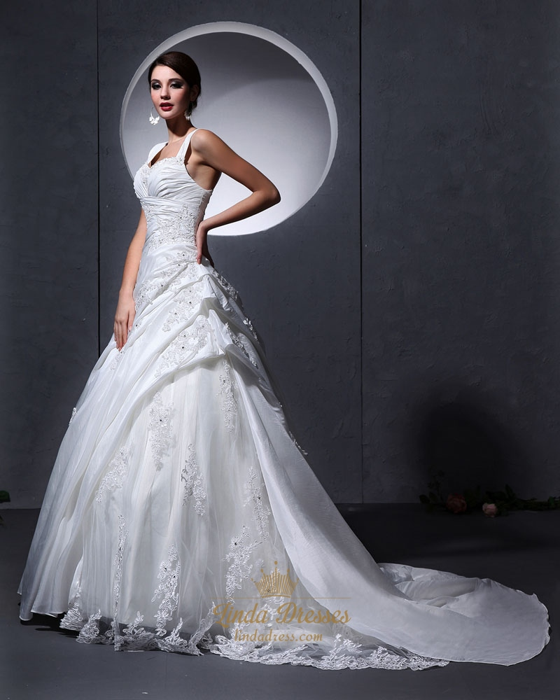 Ivory a line lace applique wedding dress with ruching and for Wedding dresses with ruching and dropped waist