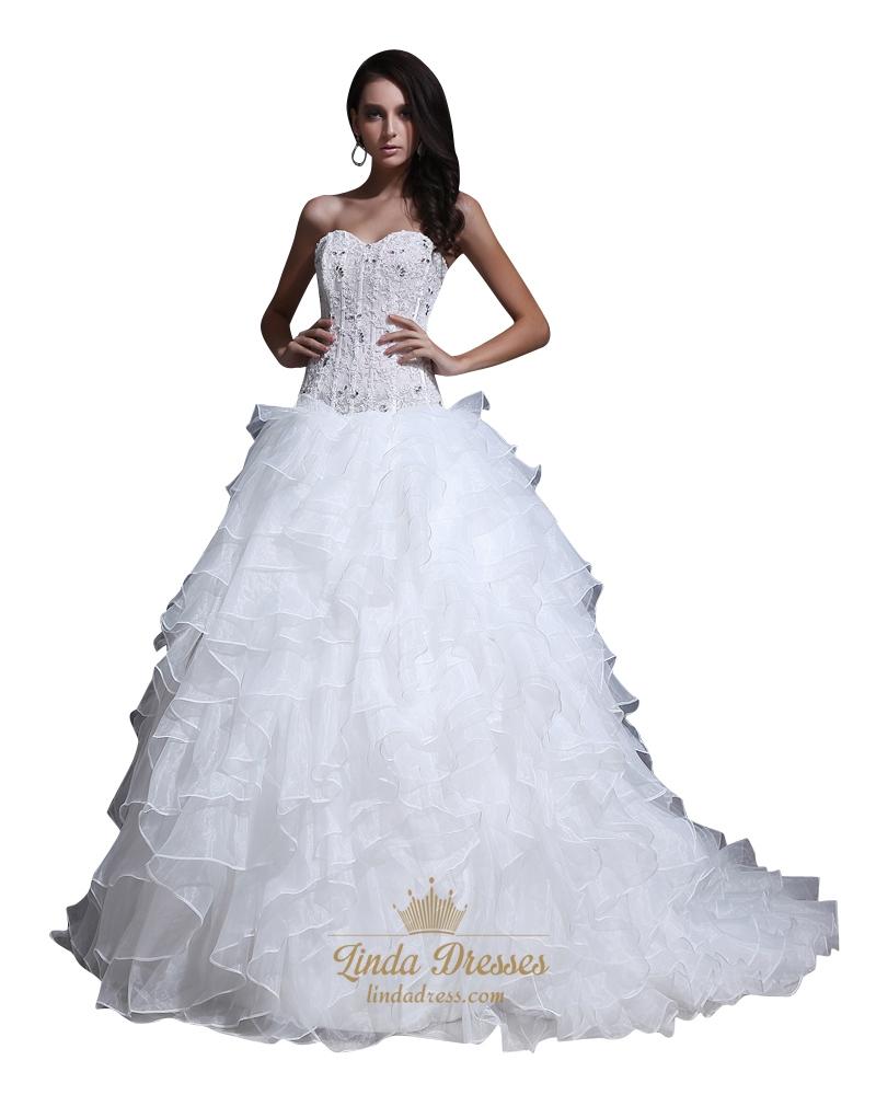 Ivory strapless sweetheart princess multi layered organza for Organza layered wedding dress