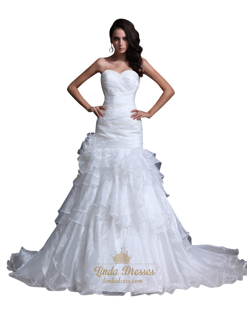White Sweetheart Beaded Organza Wedding Gown With Tiered Ruffle ...