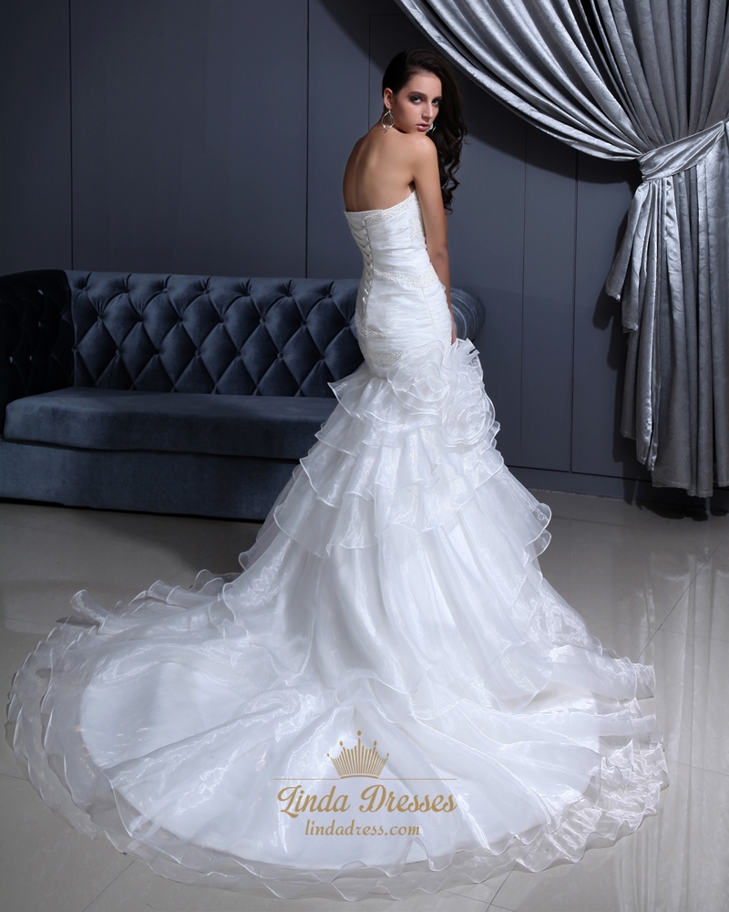 White sweetheart beaded organza wedding gown with tiered for Tiered ruffle wedding dress