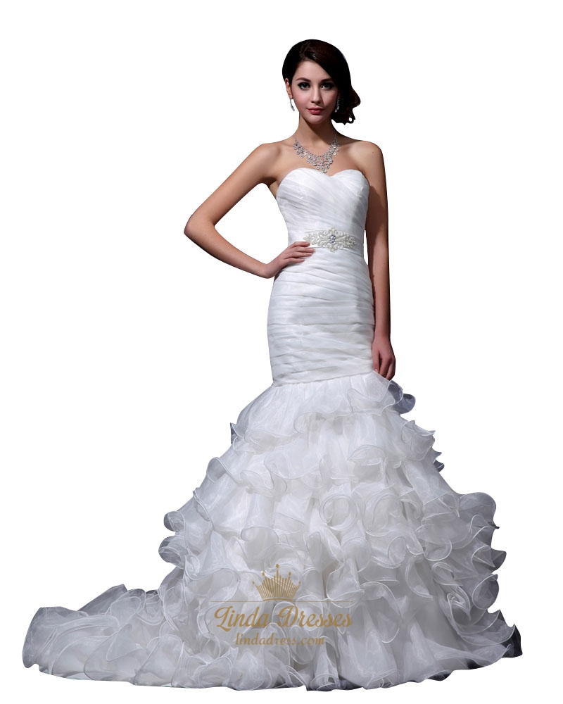Ivory strapless mermaid ruffled wedding dress with beaded for Wedding dress with waistband