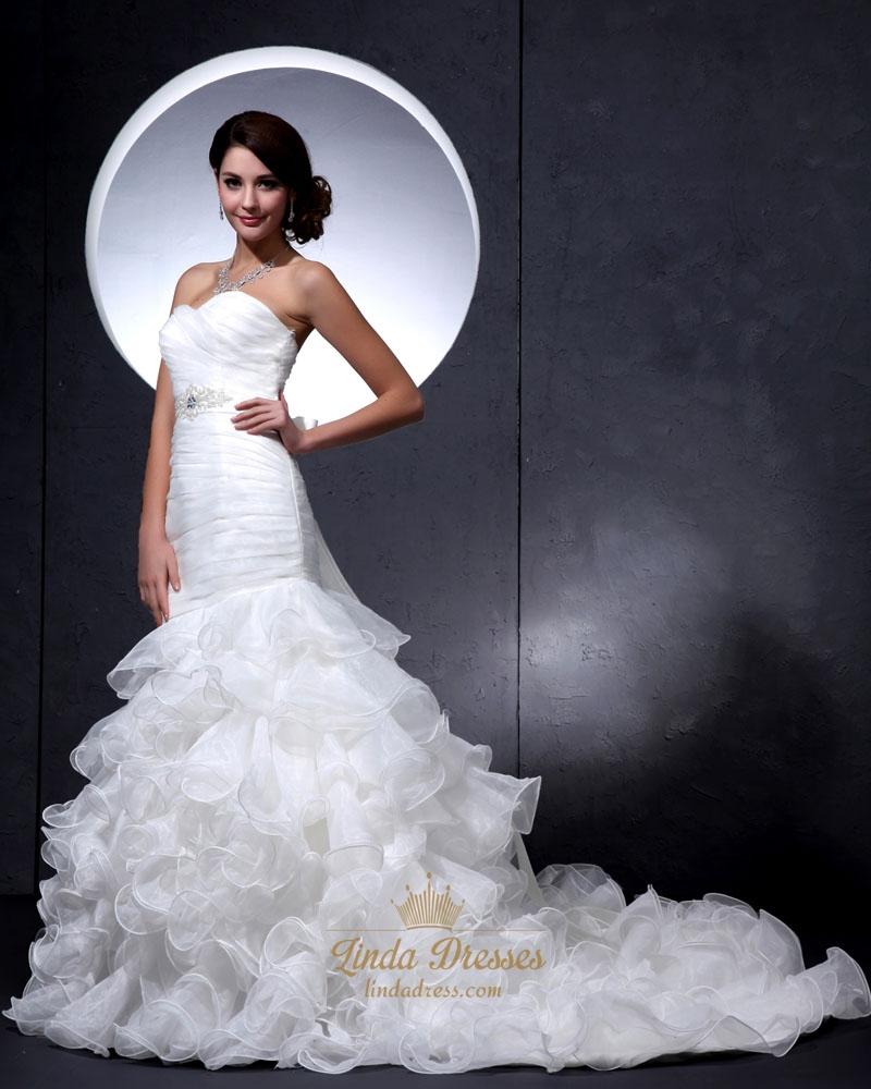 Ivory strapless mermaid ruffled wedding dress with beaded for Ruffled mermaid wedding dress