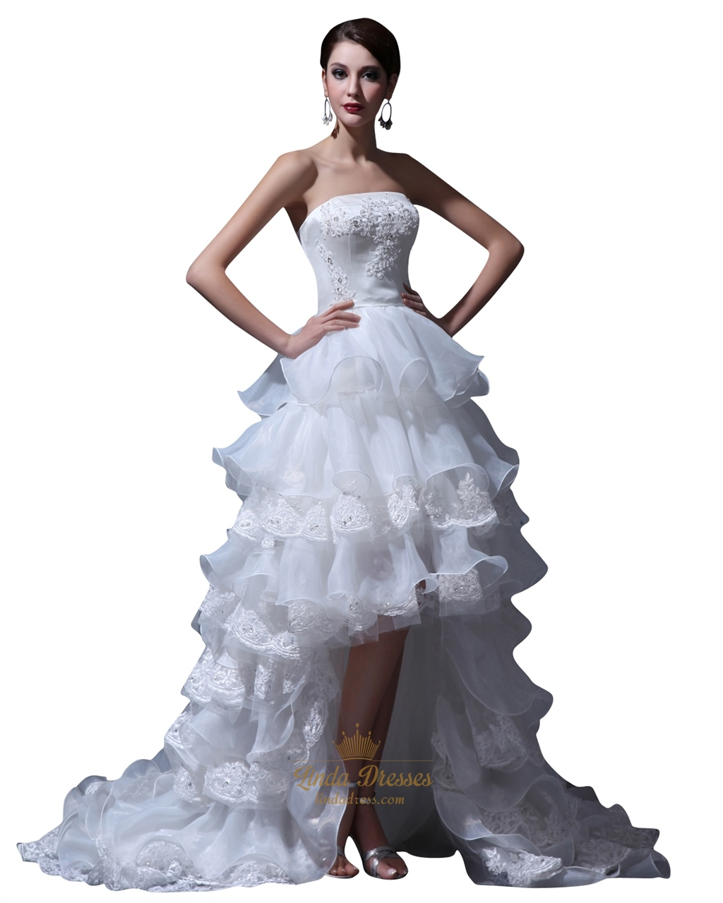73cfc1f9f97 Ivory Organza Strapless High Low Wedding Dress With Beaded Lace ...