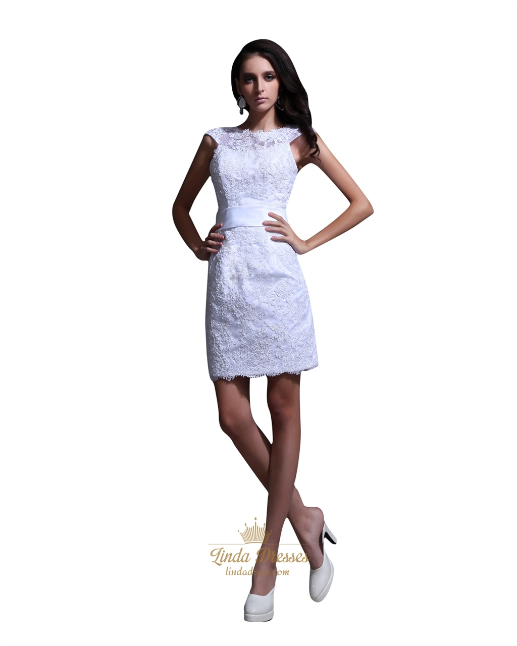 Elegant short white lace sheath wedding dress with cap for Short sheath wedding dress
