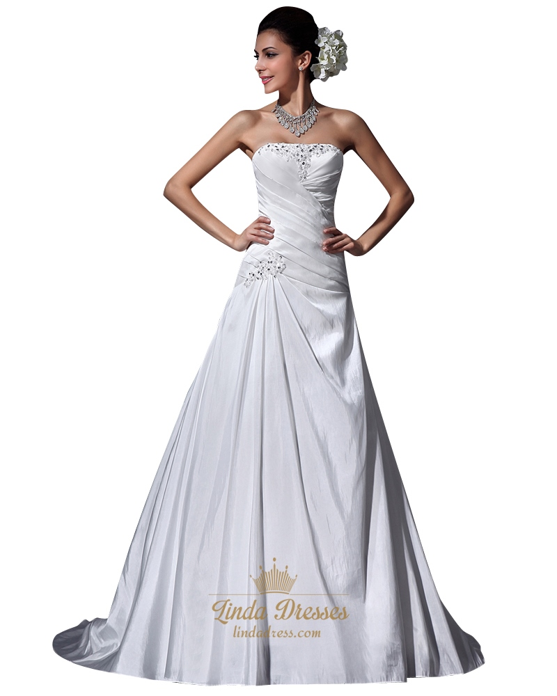Ivory strapless a line dropped waist taffeta wedding dress for Wedding dresses with ruching and dropped waist