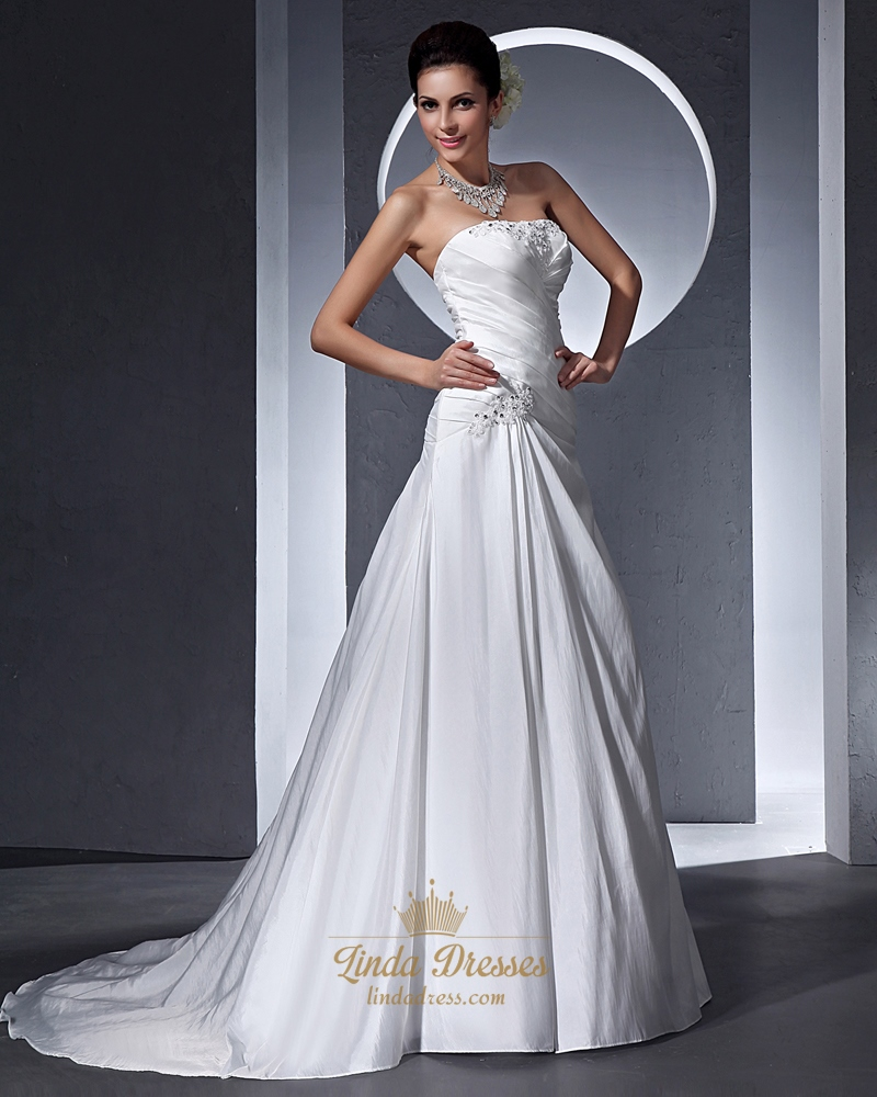 Ivory strapless a line dropped waist taffeta wedding dress for Strapless taffeta wedding dress