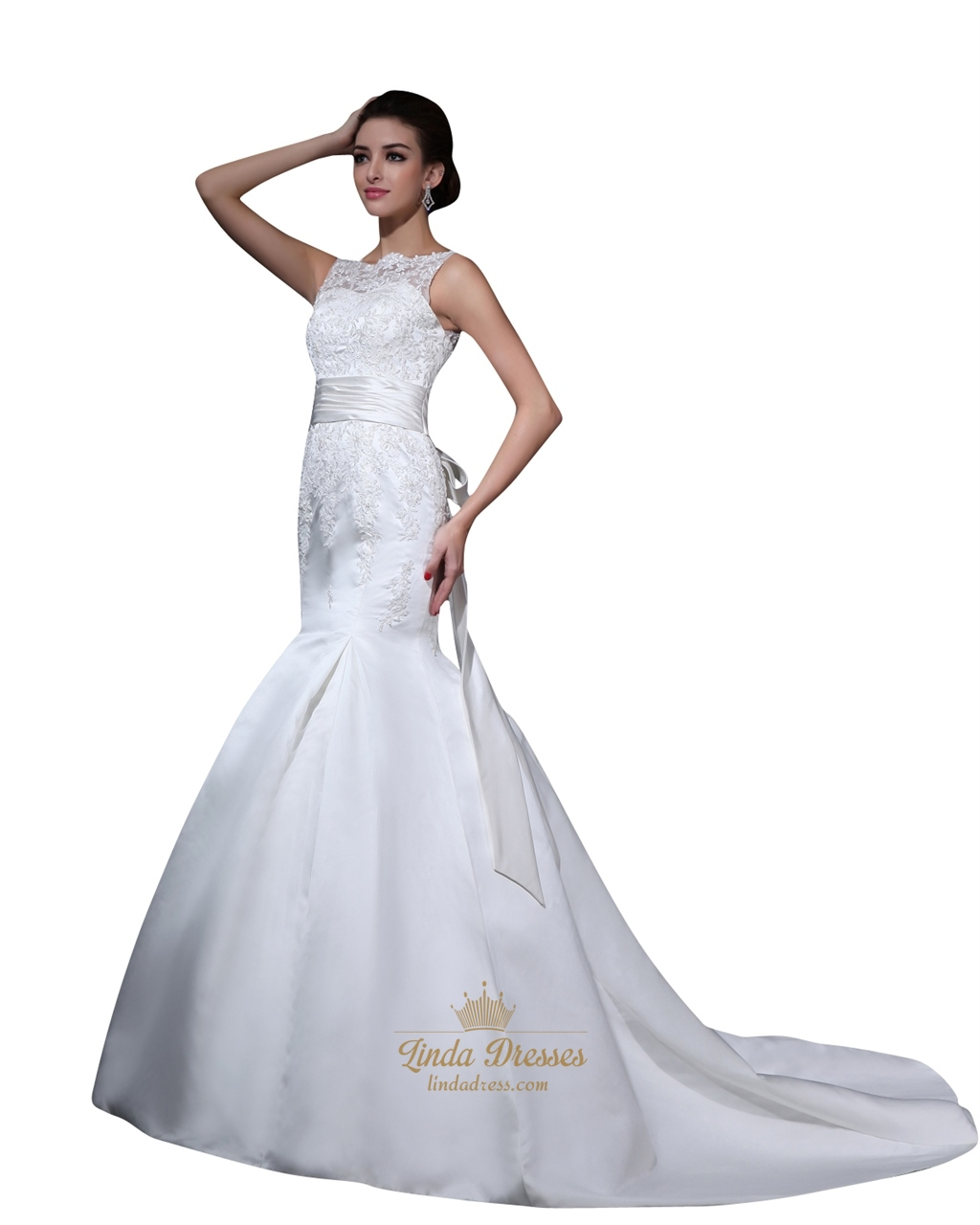 Ivory Mermaid Beaded Lace Applique Illusion Neck Wedding Dress With ...
