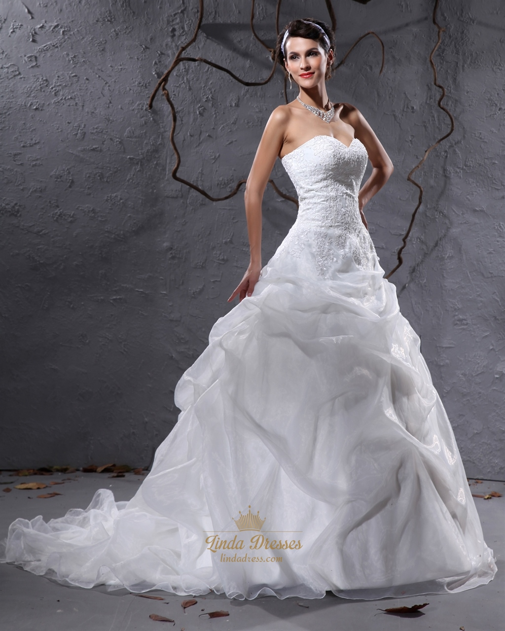 Ivory sweetheart organza pick up wedding dresses for Pick up wedding dress