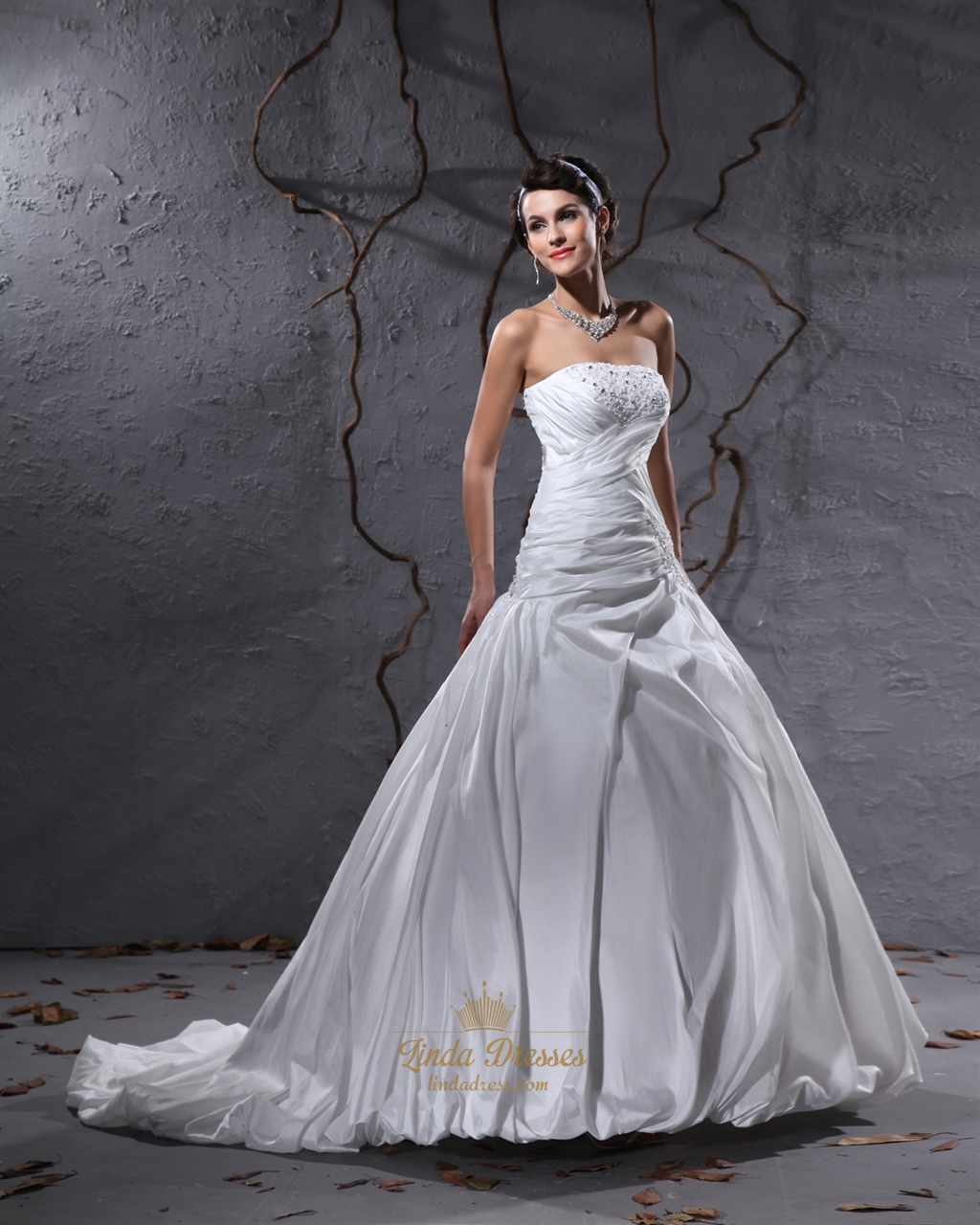ivory taffeta beaded lace applique wedding dresses with