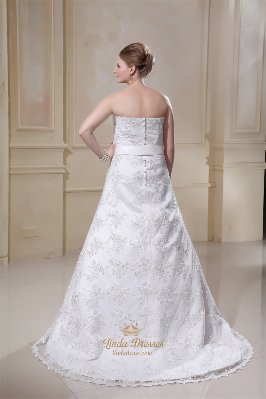 Ivory Strapless Sweetheart Lace A Line Wedding Dresses