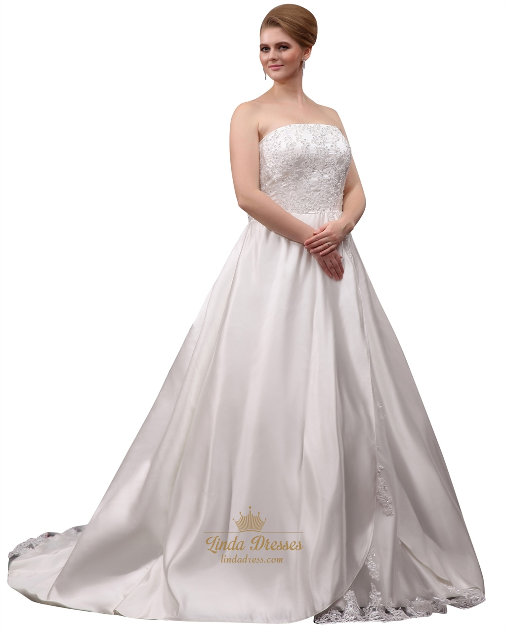 Ivory Strapless A Line Plus Size Wedding Dress With Beaded Appliques