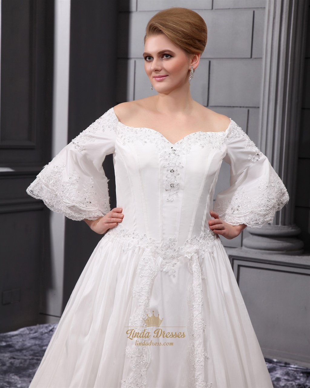 Ivory satin a line off the shoulder wedding dress with for Off the shoulder satin wedding dress