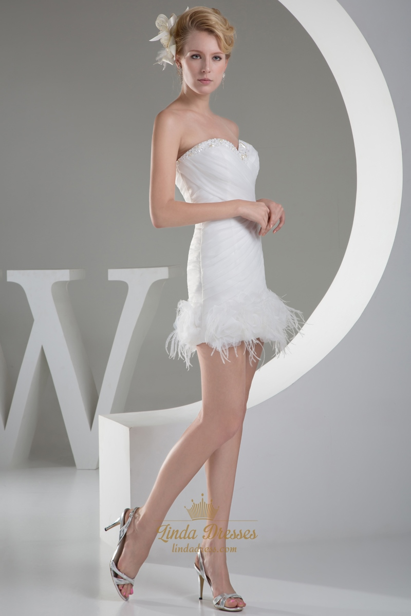 Ivory Sheath Beaded Sweetheart Wedding Dress With Feather Bottom ...
