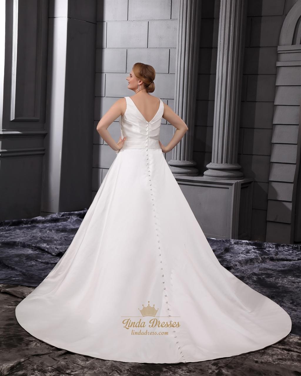 Ivory satin a line princess v neck chapel train wedding for Satin princess wedding dress