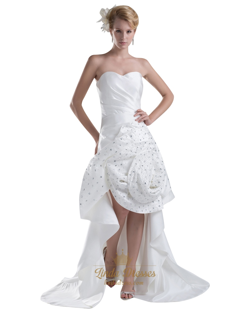 Ivory Sweetheart Strapless High Low Wedding Dress With