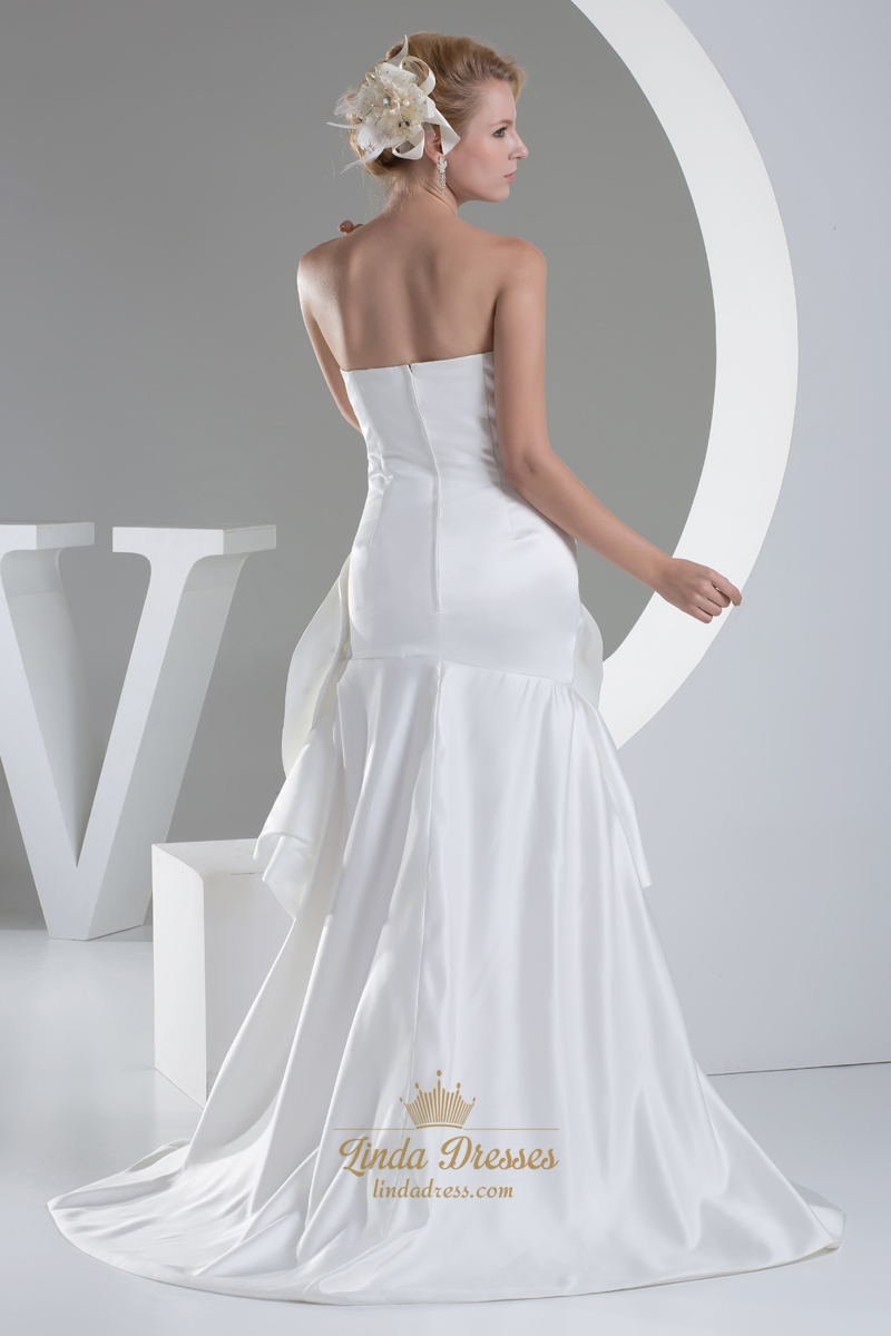 Ivory sweetheart strapless high low wedding dress with for High low sweetheart wedding dress