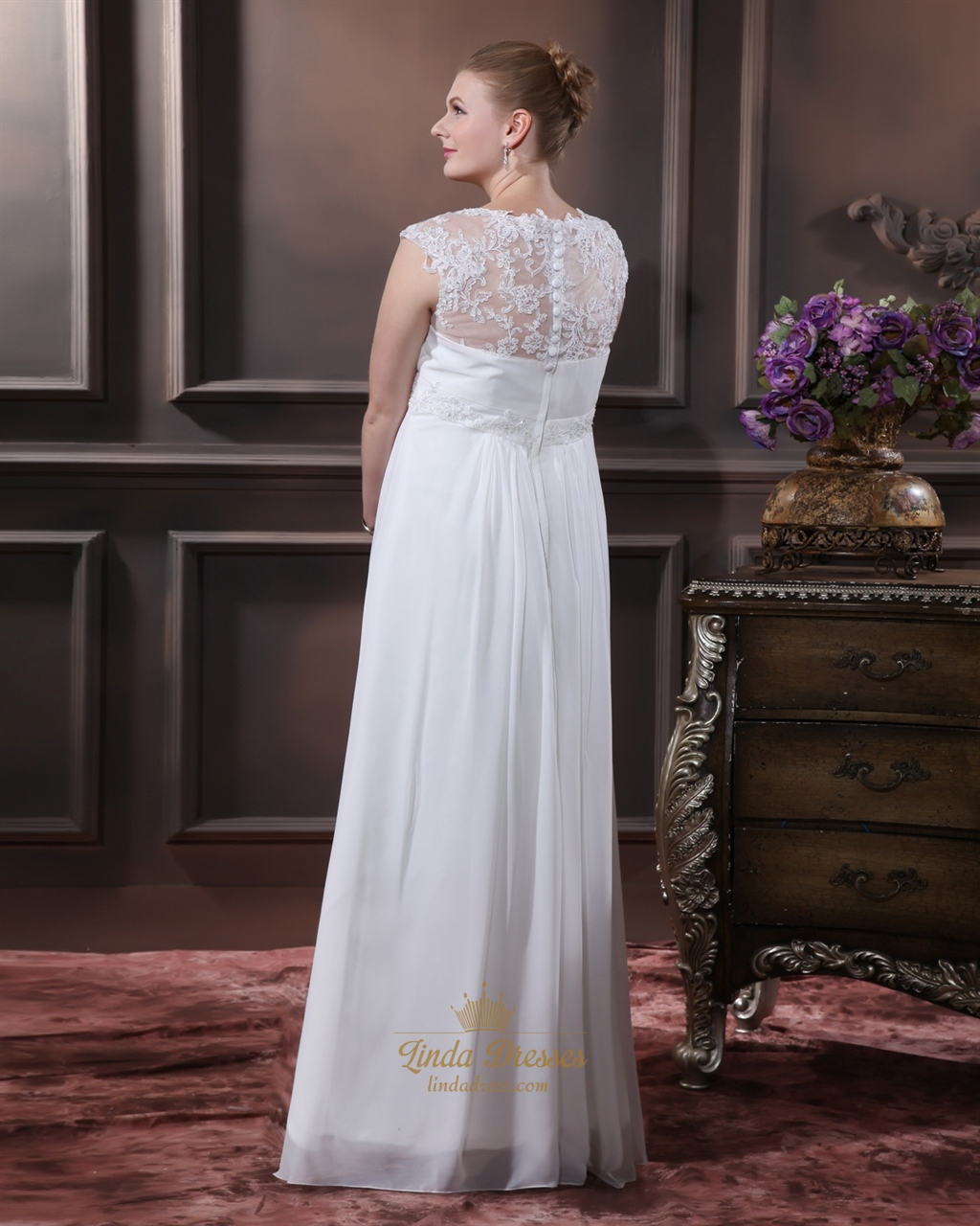 Wedding Gowns With Cap Sleeves: Ivory Chiffon V Neck Cap Sleeve Wedding Dress With Sheer