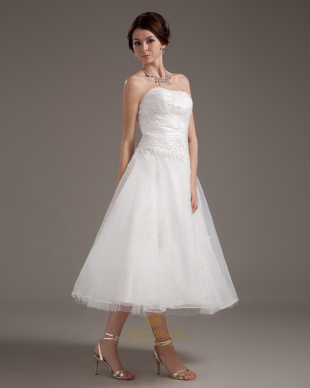 Ivory organza a line strapless tea length wedding dress for A line tea length wedding dress