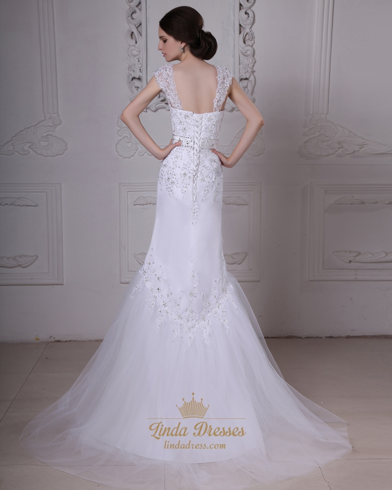 White mermaid trumpet tulle wedding dresses with lace for Tulle trumpet wedding dress