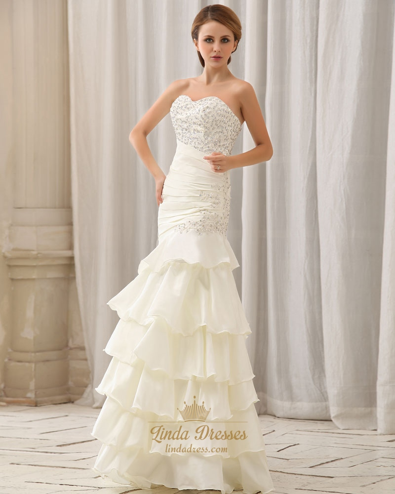 Ivory Organza Mermaid Wedding Gown With Ruched Bodice Layered Skirt ...