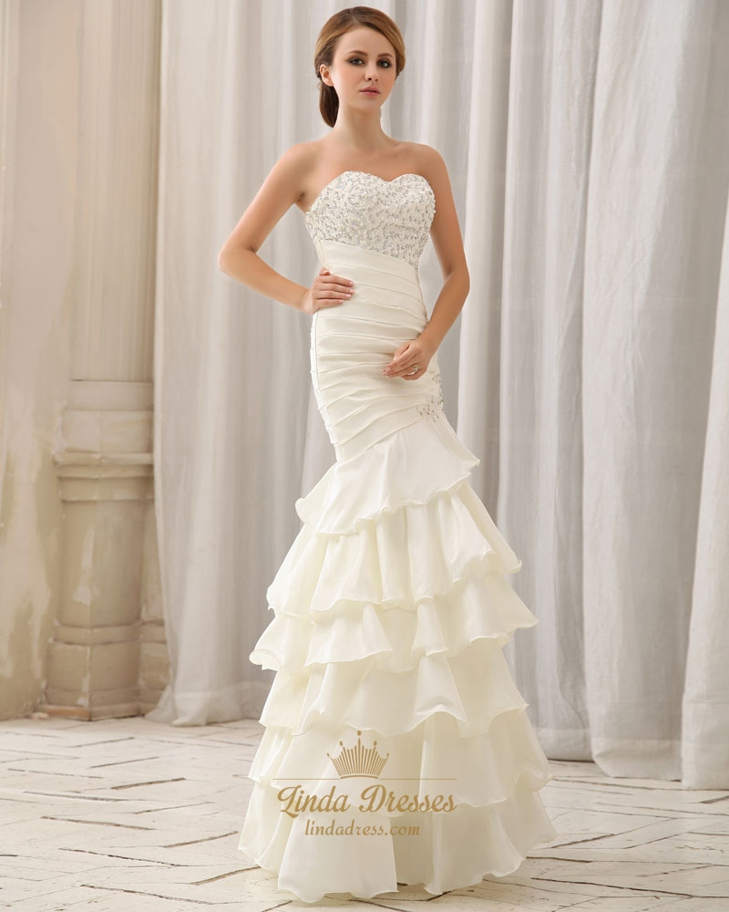 Ivory Organza Mermaid Wedding Gown With Ruched Bodice
