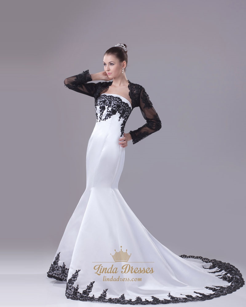 Black And White Mermaid Wedding Gowns : Black and white mermaid wedding dresses strapless