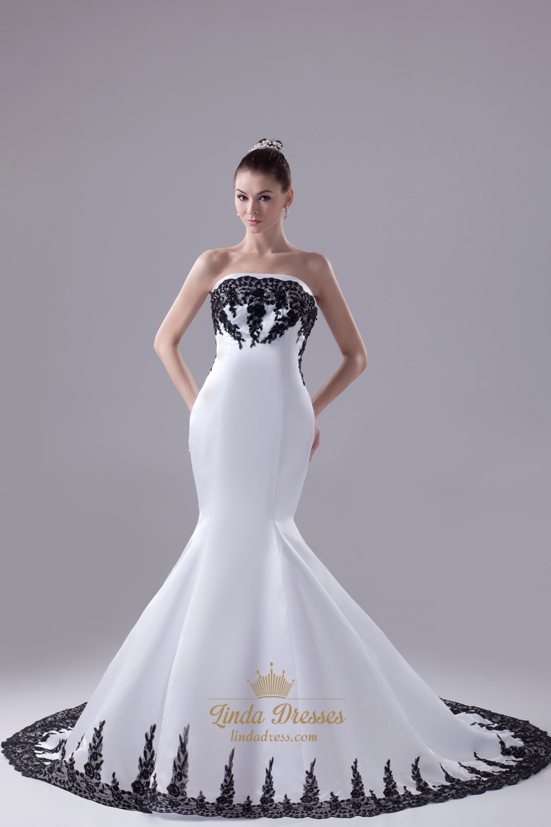 Black and white mermaid strapless wedding dresses with for Black mermaid wedding dresses