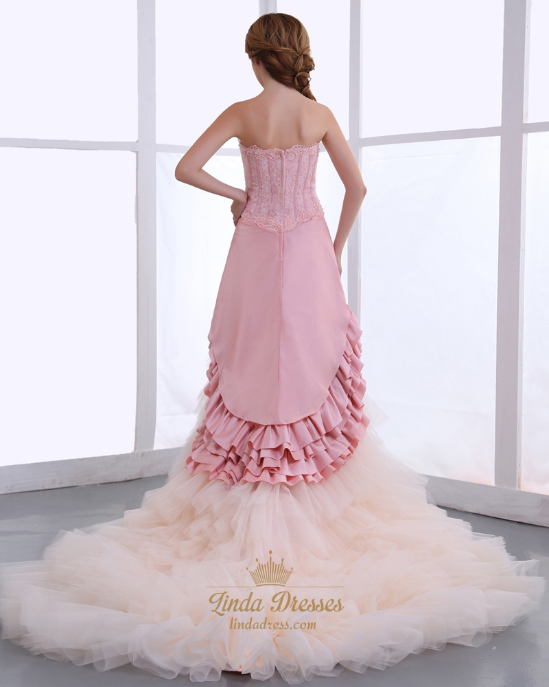 Pink and champagne strapless layered skirt wedding dresses for Champagne pink wedding dresses