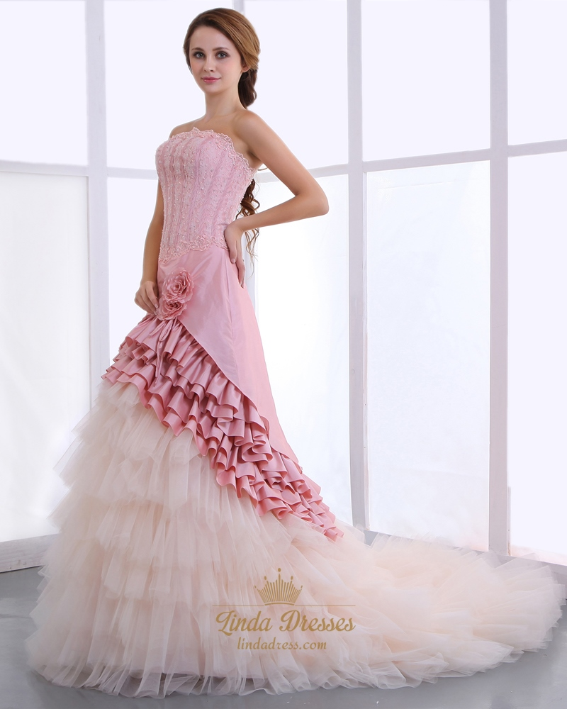 Pink And Champagne Strapless Layered Skirt Wedding Dresses With Flower
