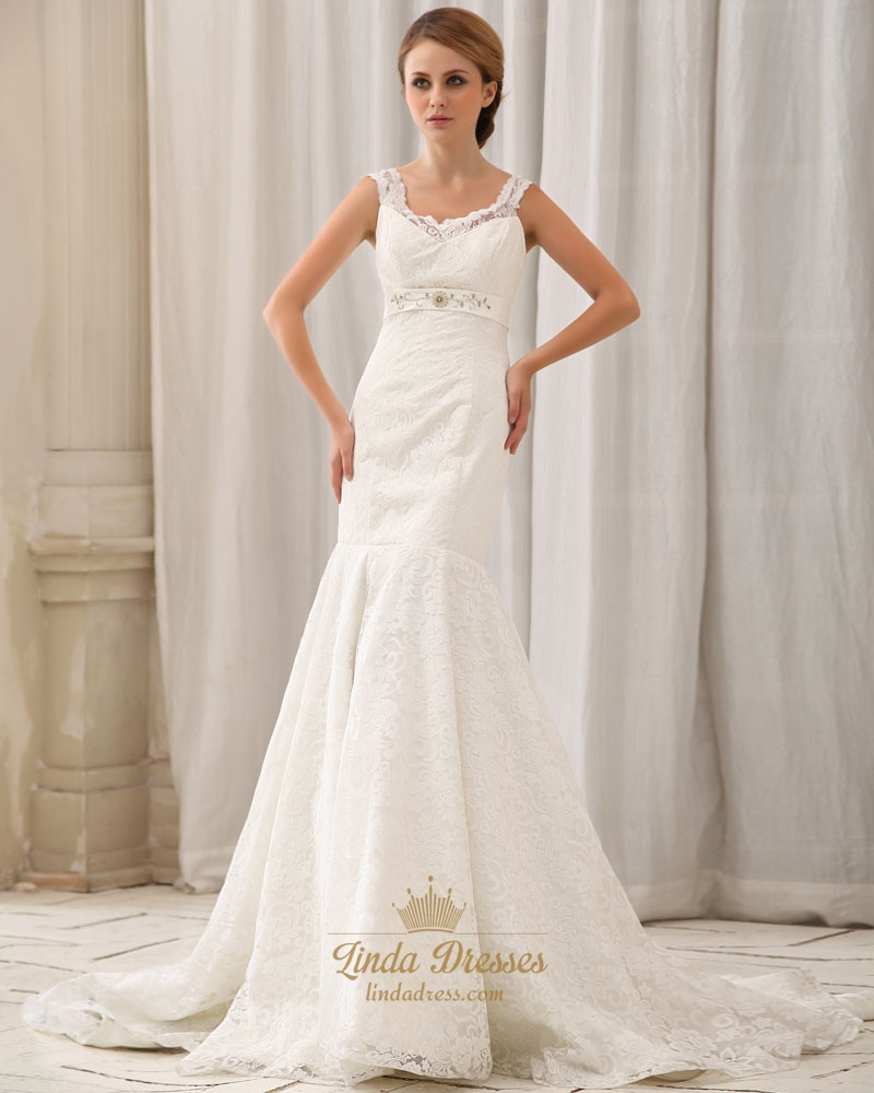 Ivory lace v neck empire mermaid wedding dress with beaded for Wedding dress with waistband