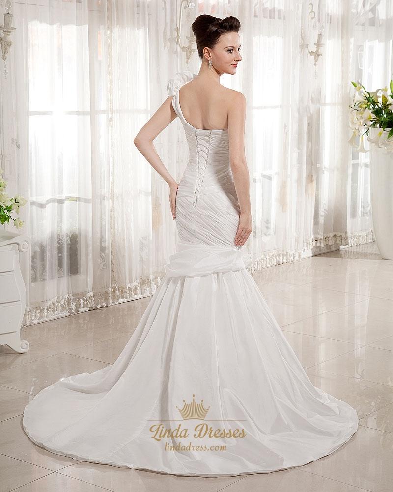 Ivory one shoulder flower strap mermaid wedding dress with for Wedding dresses one strap