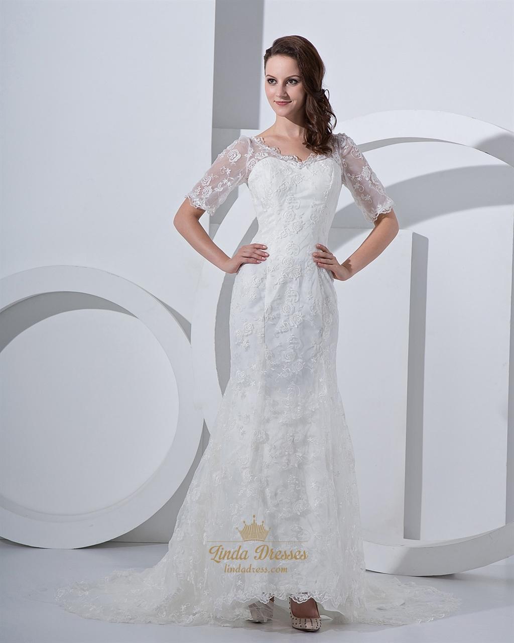 Ivory v neck lace chapel train mermaid wedding dress with for Half sleeve wedding dress