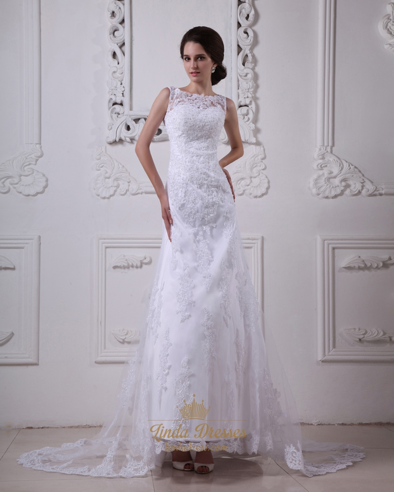 White Lace A Line Dropped Waist Vintage Wedding Dress With Sheer ...