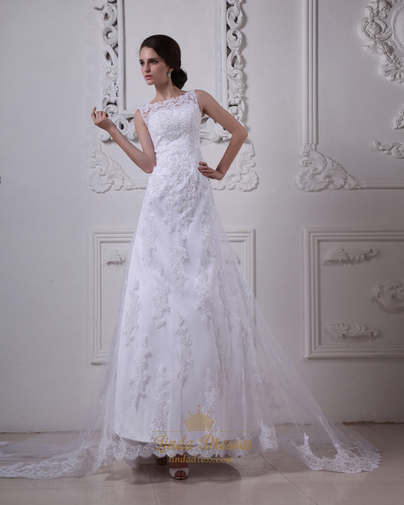 White lace a line dropped waist vintage wedding dress with for Lace drop waist wedding dress
