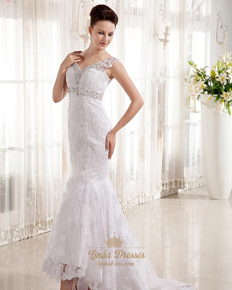 Ivory Lace V Neck Mermaid Empire Waist Wedding Dress With Beading