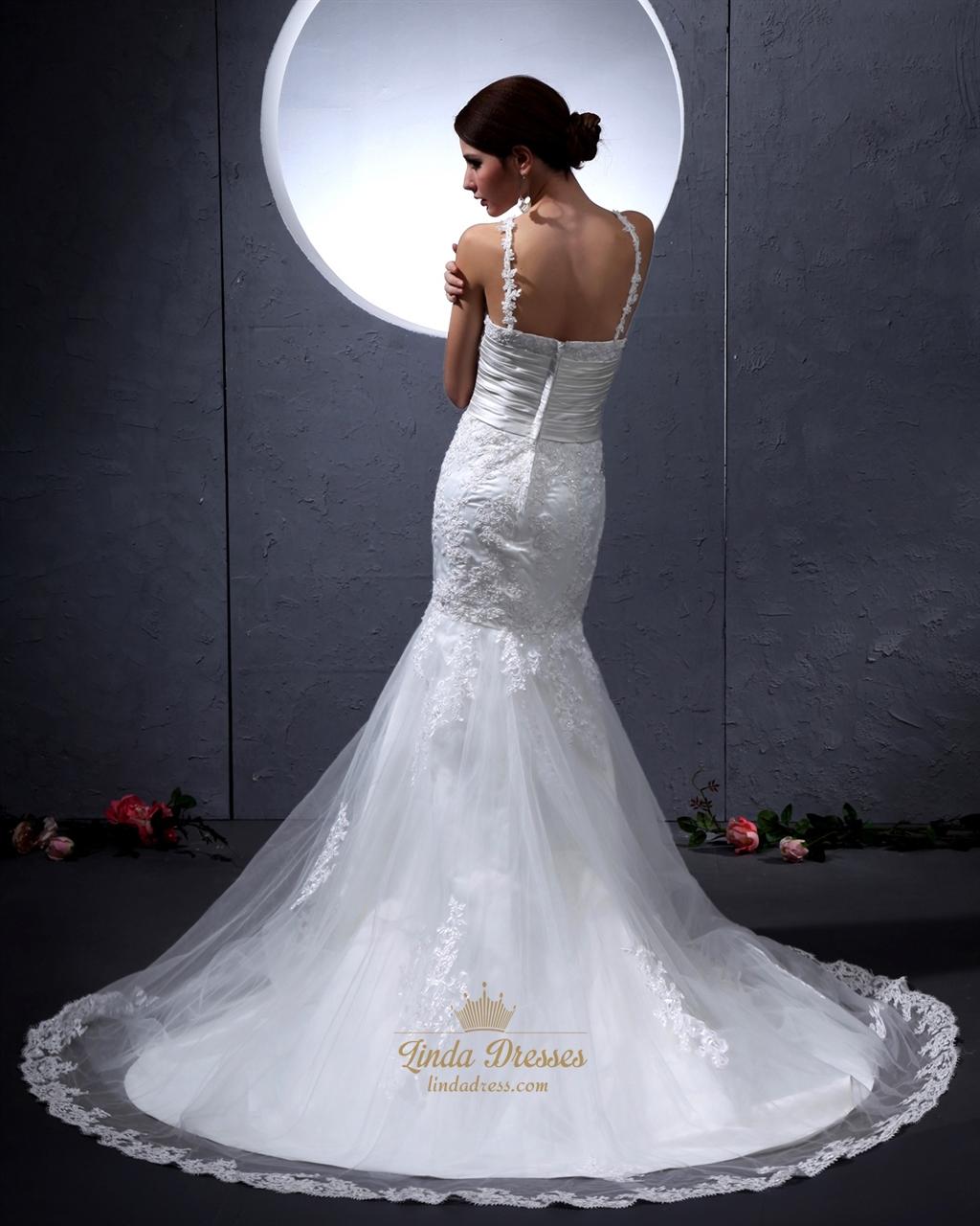 Ivory jewel neckline mermaid wedding dress with lace for Jewel neckline wedding dress