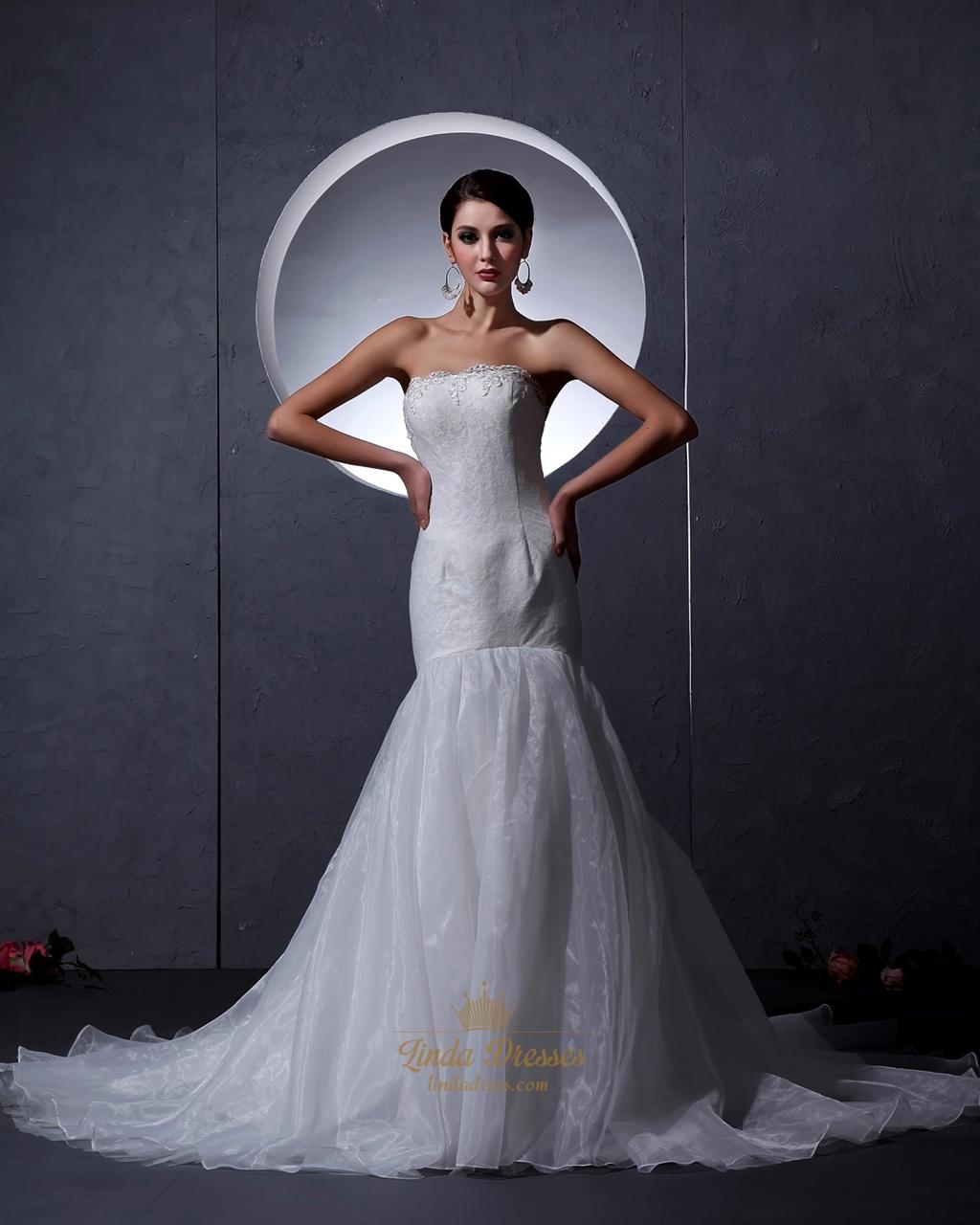 Ivory Lace Bodice Organza Skirt Strapless Mermaid Wedding