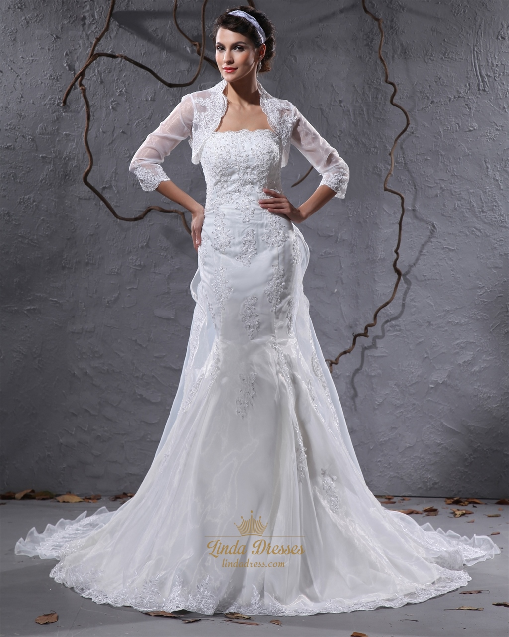 Ivory strapless mermaid lace appliques wedding dress with for Lace jackets for wedding dresses