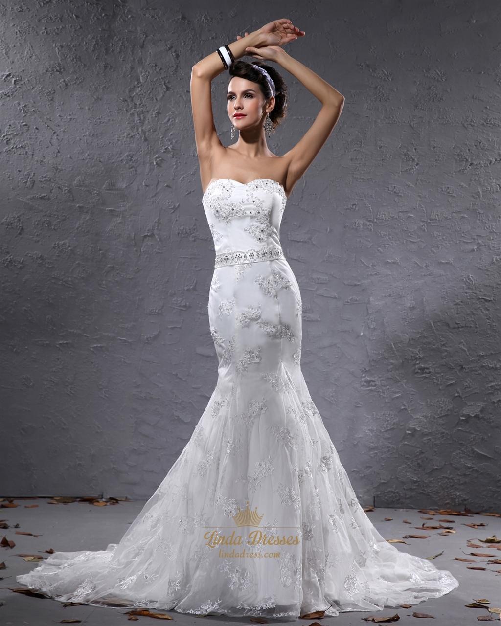 Lace Mermaid Wedding Dress: Ivory Mermaid Sweetheart Lace Wedding Dresses With Beaded
