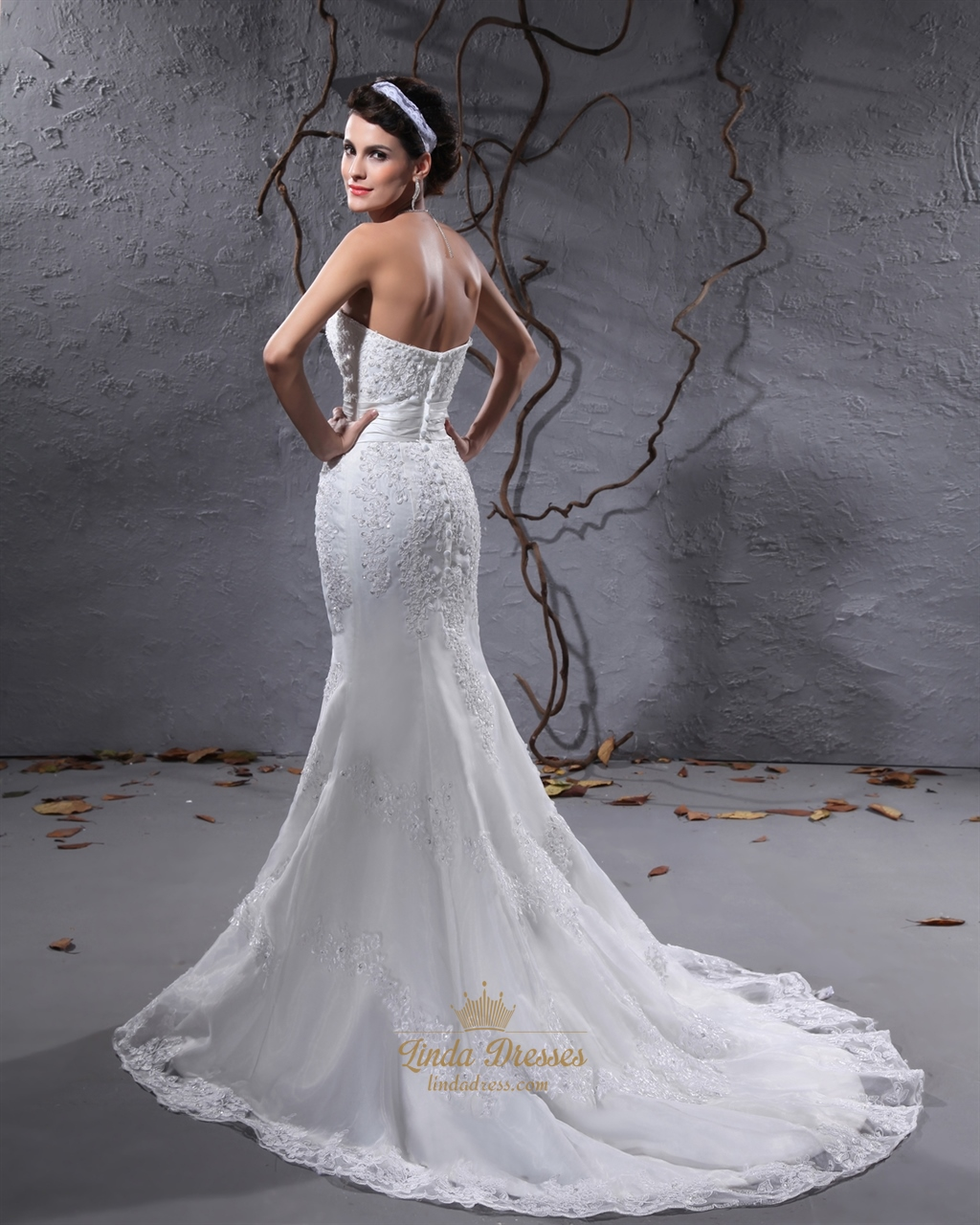 Ivory Strapless Sweetheart Mermaid Beaded Lace Applique