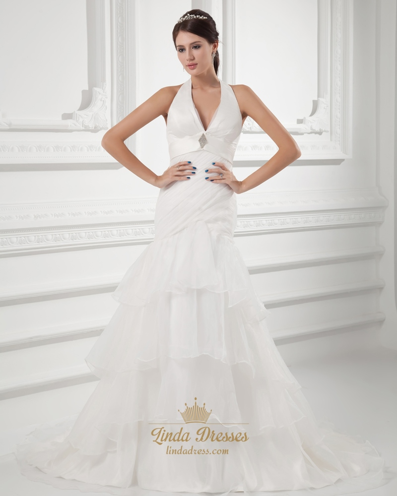 Organza Ivory Halter Empire Waist Wedding Dresses With Organza ...