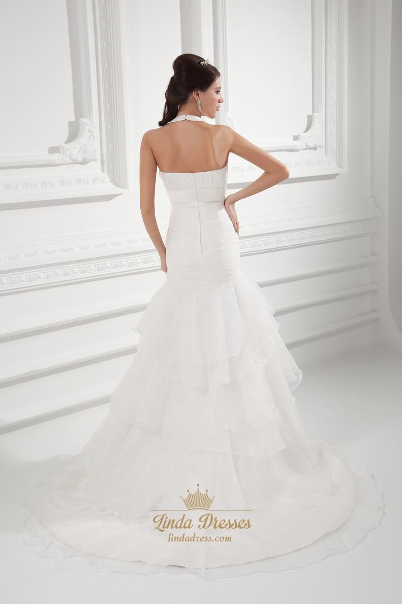 Organza Ivory Halter Empire Waist Wedding Dresses With