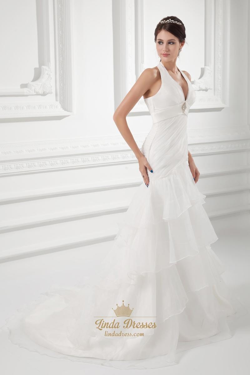 Organza ivory halter empire waist wedding dresses with for Organza layered wedding dress