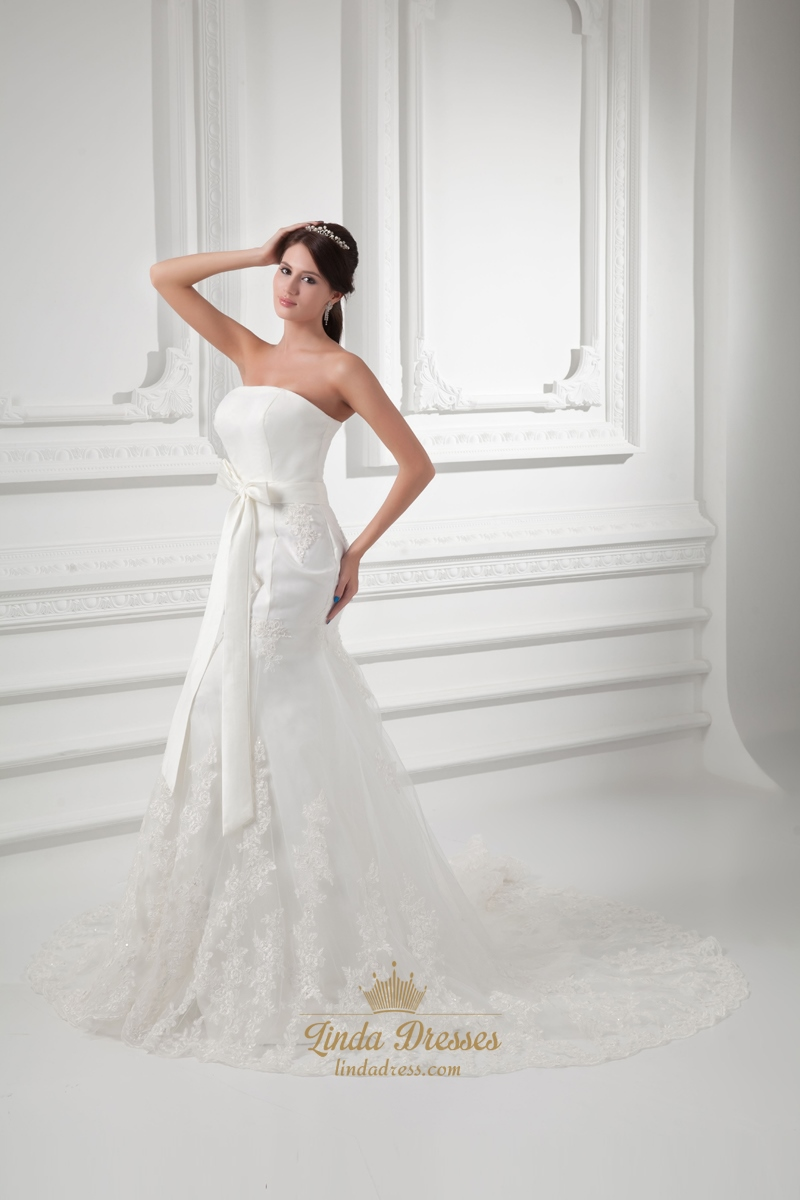 Ivory mermaid strapless chapel train wedding dresses with for Ivory mermaid wedding dresses
