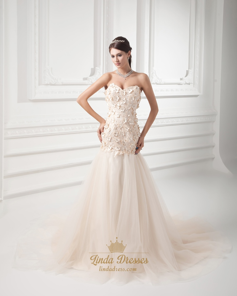 Champagne Wedding Dresses A Line : Champagne strapless a line dropped wedding dress with