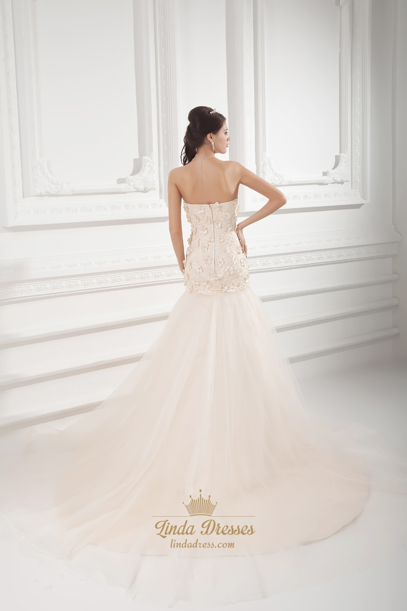 Champagne strapless a line dropped wedding dress with for Flowers for champagne wedding dress