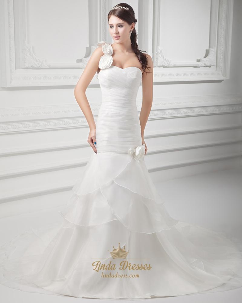 Ivory One Shoulder Flower Strap Wedding Dress With Organza