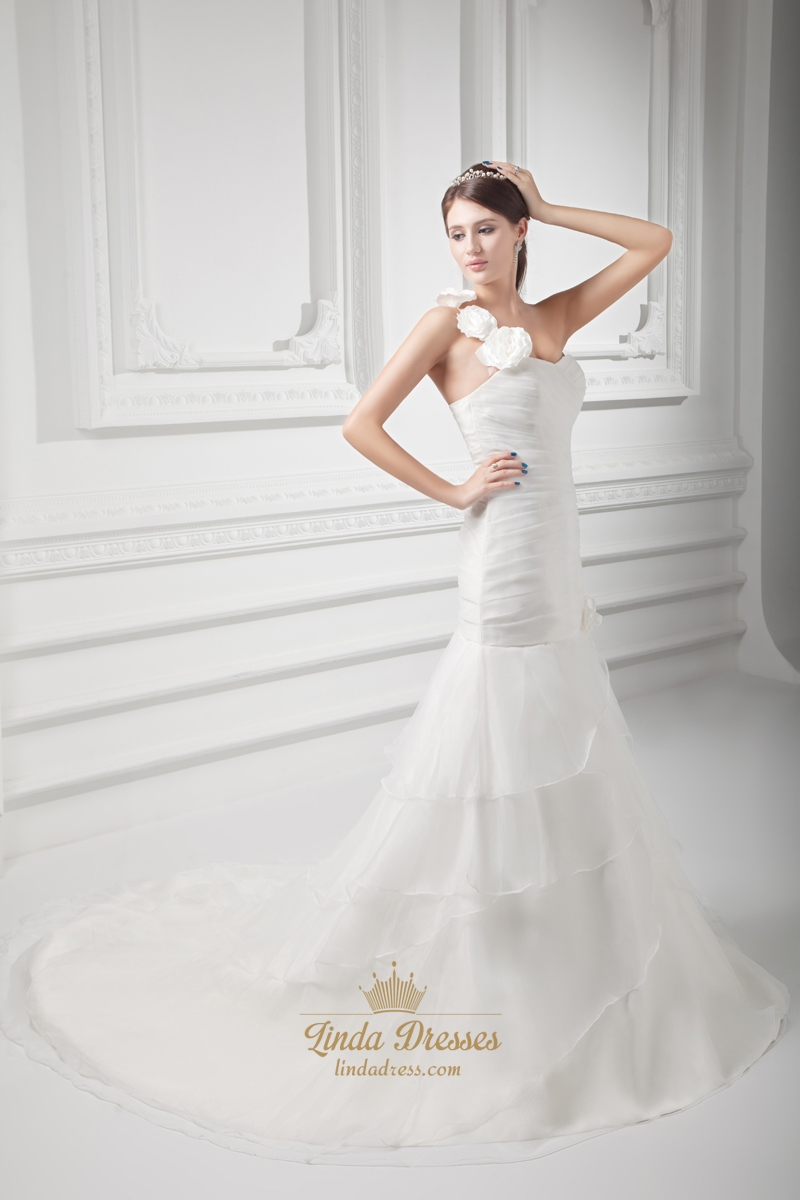 Ivory one shoulder flower strap wedding dress with organza for Organza layered wedding dress